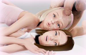 Rating: Explicit Score: 18 Tags: 1boy 2girls 3dcg age_difference blonde_hair blue_eyes cum cumdrip facial hairband kneeling looking_at_viewer lying multiple_girls nipples penis penis_on_head photorealistic pose shadow testicles vinnyinnocent User: fantasy-lover