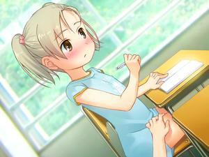 Rating: Explicit Score: 3 Tags: 1girl blush brown_eyes clothed desk dress hand_on_thigh original school school_desk sol-fa-soft tagme usugi_shoujo yoshida_seiji User: DMSchmidt