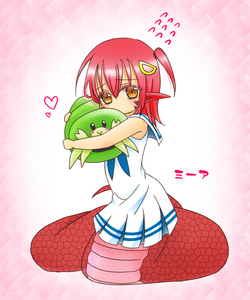 Rating: Safe Score: 0 Tags: 1girl blush bug dress embarrassed eyebrows_visible_through_hair full_body hair_ornament hairclip heart hug insect lamia long_hair miia_(monster_musume) monster_girl monster_musume_no_iru_nichijou orange_eyes pointy_ears red_hair scales scared short_hair slit_pupils snake_tail solo stuffed_animal stuffed_toy tail uni_(leamyuse) white_dress yellow_eyes younger User: Domestic_Importer