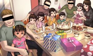Rating: Safe Score: 9 Tags: 4boys 5girls age_difference anime801 birthday birthday_cake brown_hair cake censored closed_mouth clothes_writing food full_body hair_bobbles hair_ornament highres identity_censor indoors kneeling long_hair long_sleeves looking_at_viewer multiple_boys multiple_girls open_mouth original pink_shirt shirt short_hair short_sleeves skirt smile table tied_hair twin_tails v User: Domestic_Importer