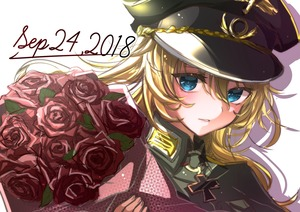 Rating: Safe Score: 0 Tags: 1girl 2018 absurdres black_headwear blonde_hair blue_eyes bouquet bouquetforangel dated floating_hair flower hair_between_eyes hat highres holding holding_bouquet huge_filesize long_hair looking_at_viewer military military_uniform parted_lips peaked_cap print_hat red_flower red_rose rose sketch solo tanya_degurechaff uniform upper_body white_background youjo_senki User: DMSchmidt