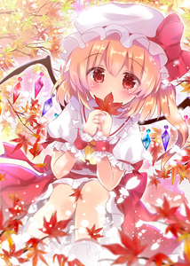 Rating: Safe Score: 0 Tags: 1girl autumn_leaves bangs blush bobby_socks bow covered_mouth crystal dutch_angle eyebrows_visible_through_hair flandre_scarlet frilled_shirt_collar frilled_skirt frills hair_between_eyes hat hat_bow holding holding_leaf leaf long_hair looking_at_viewer maple_leaf mob_cap one_side_up puffy_short_sleeves puffy_sleeves red_bow red_eyes red_skirt red_vest rikatan shirt short_sleeves skirt skirt_set socks solo touhou_project vest white_hat white_legwear white_shirt wings User: DMSchmidt