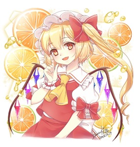 Rating: Safe Score: 0 Tags: 1girl ascot blonde_hair bow crystal dated flandre_scarlet food frilled_shirt_collar frills fruit hair_bow hair_twirling haruki_(colorful_macaron) hat mob_cap open_mouth orange orange_juice puffy_short_sleeves puffy_sleeves red_bow red_vest shirt short_sleeves side_ponytail signature solo sparkle touhou_project upper_body vest white_shirt wings wrist_cuffs yellow_eyes yellow_neckwear User: DMSchmidt