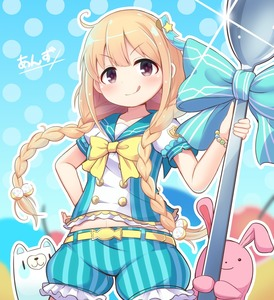 Rating: Safe Score: 0 Tags: 1girl belt blonde_hair blush bow bracelet braid character_name closed_mouth collarbone eyebrows_visible_through_hair futaba_anzu idolmaster idolmaster_cinderella_girls jewellery looking_at_viewer nav navel qixi_cui_xing short_sleeves smile solo tongue tongue_out twin_braids yellow_bow User: Domestic_Importer