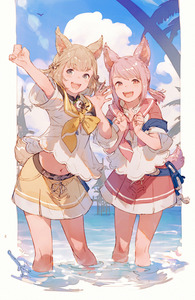 Rating: Safe Score: 2 Tags: 2girls :d animal_ears bangs blue_sky blush cloud day eyebrows_visible_through_hair fangs final_fantasy final_fantasy_xiv grey_eyes hands_up highres horizon junwool khloe_aliapoh light_brown_hair midriff miqo'te multiple_girls navel ocean open_mouth outstretched_arm pink_hair pink_neckwear pleated_skirt red_eyes red_sailor_collar red_skirt sailor_collar school_uniform serafuku shirt short_sleeves skirt sky smile standing t'kebbe tail wading water white_shirt wide_sleeves yellow_neckwear yellow_sailor_collar User: DMSchmidt