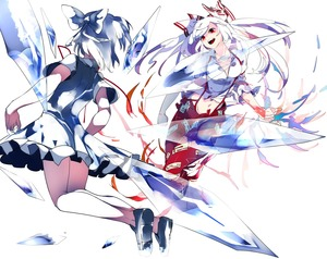 Rating: Safe Score: 0 Tags: 2girls :d battle blue_dress blue_eyes blue_hair cirno clenched_hand dress fire folded_leg from_behind fujiwarano_mokou hair_ribbon highres ice ice_wings ikurauni loafers looking_at_another midriff multiple_girls navel ofuda open_hand open_mouth open_pants pants puffy_short_sleeves puffy_sleeves red_eyes reflection ribbon shirt shoes short_hair short_sleeves simple_background smile suspenders teeth torn_clothes torn_sleeves touhou_project white_background white_hair white_shirt wings User: DMSchmidt