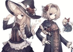 Rating: Safe Score: 0 Tags: 2girls ;) alice_margatroid alternate_costume bangs black_dress black_hat blonde_hair blue_capelet blue_eyes bow braid breasts brooch buttons capelet corset cowboy_shot cravat dress eyebrows_visible_through_hair flower frilled_hat frilled_sleeves frills hair_bow hair_flower hair_intakes hair_ornament hairband hand_on_hip hands_up hat hat_bow hat_flower highres hito_komoru jewellery kirisame_marisa lolita_hairband long_hair long_sleeves looking_at_viewer multiple_girls one_eye_closed parted_lips pointing red_flower red_neckwear red_rose rose side_braid simple_background small_breasts smile star swept_bangs touhou_project white_background white_bow witch_hat User: DMSchmidt