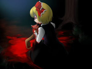 Rating: Safe Score: 0 Tags: 1girl bad_id blonde_hair blood cannibalism dark dress eating grass guro hair_ribbon kneeling red_eyes ribbon rumia saryuu_(iriomote) severed_arm severed_limb short_hair solo touhou_project tree User: DMSchmidt