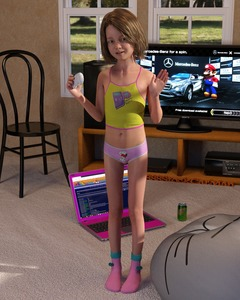 Rating: Safe Score: 38 Tags: 1girl 3dcg 4888stockcarman blonde_hair chair computer flat_chest laptop mario_(series) mountain_dew navel nipples open_mouth pantsu photorealistic product_placement short_hair smile snoopy socks solo standing television underwear waving User: fantasy-lover