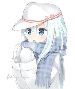 Rating: Safe Score: 1 Tags: 10s 1girl blowing_on_hands blue_eyes breath cold hammer_and_sickle hat hibanar hibiki_(kantai_collection) kadokawa_shoten kantai_collection long_hair long_sleeves mittens open_mouth plaid plaid_scarf scarf silver_hair simple_background solo star upper_body verniy_(kantai_collection) white_background winter_clothes User: DMSchmidt