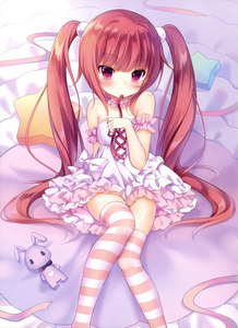 Rating: Safe Score: 2 Tags: 1girl absurdres amashiro_natsuki brown_hair dress hair_ornament highres long_hair looking_at_viewer mouth_hold original red_eyes ribbon ribbon_in_mouth sitting solo strapless strapless_dress striped striped_legwear thighhighs twin_tails User: DMSchmidt