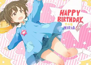 Rating: Safe Score: 0 Tags: 1girl 2018 :d akagi_miria bangs blue_shirt blue_skirt blush brown_eyes brown_hair character_name eyebrows_visible_through_hair gomennasai hair_between_eyes happy_birthday idolmaster idolmaster_cinderella_girls kindergarten_uniform long_sleeves open_mouth pleated_skirt polka_dot polka_dot_background puffy_long_sleeves puffy_sleeves shirt shoes shoes_removed skirt smile socks solo star striped striped_background upper_teeth uwabaki vertical-striped_background vertical_stripes white_footwear white_legwear User: Domestic_Importer