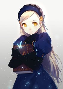 Rating: Safe Score: 3 Tags: 1girl bangs black_gloves blonde_hair blue_dress blue_hairband book book_hug butterfly caidychen closed_mouth covered_collarbone dress elbow_gloves gloves glowing glowing_butterfly gradient gradient_background hairband highres holding holding_book juliet_sleeves lavenza long_hair long_sleeves looking_at_viewer persona persona_5 puffy_short_sleeves puffy_sleeves short_sleeves simple_background solo standing swept_bangs turtleneck very_long_hair white_background yellow_eyes User: DMSchmidt