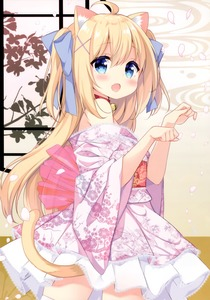 Rating: Safe Score: 2 Tags: 1girl :o absurdres ahoge animal_ear_fluff animal_ears bangs bell bell_collar blonde_hair blue_bow blue_eyes blush bow cat_ears cat_girl cat_tail collar eyebrows_visible_through_hair fang floral_print hair_between_eyes hair_bow hair_ornament hands_up highres japanese_clothes jingle_bell kimono long_hair looking_at_viewer looking_to_the_side mimura_zaja obi off_shoulder open_mouth original paw_pose pink_kimono pleated_skirt print_kimono red_collar sash sidelocks skirt solo tail tail_raised thighhighs two_side_up very_long_hair white_legwear white_skirt x_hair_ornament User: DMSchmidt