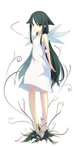 Rating: Safe Score: 2 Tags: 1girl arm_behind_back bangs bare_arms bare_shoulders barefoot blush collarbone dress enamisachi eyebrows_visible_through_hair flat_chest full_body green_hair grey_eyes hair_flaps highres light_smile long_hair looking_at_viewer saya saya_no_uta sidelocks simple_background sleeveless sleeveless_dress solo standing sundress very_long_hair white_background white_dress wings User: DMSchmidt
