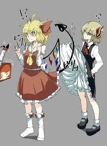 Rating: Questionable Score: 2 Tags: !? 2girls ? adapted_costume ahoge arm_garter ascot black_dress black_shoes blonde_hair bloomers bobby_socks box crystal dress dress_lift flandre_scarlet frilled_skirt frills full_body grey_background hair_ribbon hand_on_hip highres holding_box juliet_sleeves laevatein_(tail) long_sleeves looking_at_another manekinekoppoi_inu mary_janes multiple_girls no_hat no_headwear puffy_sleeves red_eyes red_ribbon red_shirt red_skirt ribbon rumia shirt shoes side_ponytail skirt skirt_set socks surprised torn_clothes torn_dress touhou_project underwear white_legwear wings User: DMSchmidt