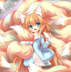 Rating: Safe Score: 4 Tags: 1girl absurdres animal_ear_fluff animal_ears bangs blonde_hair blue_eyes blue_sweater blush cowboy_shot dress eyebrows_visible_through_hair fang fox_ears fox_girl fox_tail highres large_tail long_hair looking_at_viewer macaroni710 messy_hair multiple_tails open_mouth original smile solo standing sweater tail tail_grab tail_hug very_long_hair white_dress User: DMSchmidt