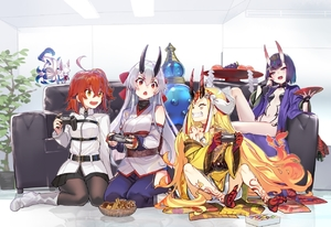 Rating: Safe Score: 2 Tags: 4girls :d ahoge bangs barefoot belt biscuit black_legwear black_skirt blonde_hair bob_cut boots bottle breasts candy chaldea_uniform checkerboard_cookie choker closed_eyes controller couch creature cup d: detached_sleeves eyebrows_visible_through_hair eyelashes facial_mark fangs fate/grand_order fate_(series) fingernails food forehead_mark fou_(fate/grand_order) fruit fujimaru_ritsuka_(female) game_controller gamepad grapes grin hair_ornament hair_ribbon hair_scrunchie holding holding_cup horns ibaraki_douji_(fate/grand_order) indoors jacket japanese_clothes kimono knee_up long_hair long_sleeves looking_at_another looking_at_viewer medium_breasts multiple_girls navel obi oni oni_horns open_mouth orange_hair pants pantyhose peach plant playing_games pleated_skirt potted_plant print_kimono purple_eyes purple_hair red_eyes revealing_clothes ribbon sakazuki sash scrunchie seiza sharp_fingernails sharp_teeth shirabi short_hair shuten_douji_(fate/grand_order) side_ponytail sitting skirt small_breasts smile tattoo teeth tomoe_gozen_(fate/grand_order) v-shaped_eyebrows very_long_hair wariza white_footwear white_hair white_jacket yellow_eyes User: DMSchmidt