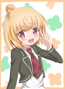 Rating: Safe Score: 0 Tags: 1girl :d anne_happy blonde_hair blush hair_bun hanakoizumi_an highres looking_at_viewer open_mouth patterned_background pink_eyes school_uniform smile solo trg-_(sain) User: DMSchmidt