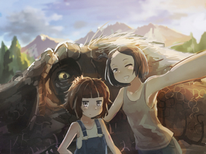 Rating: Safe Score: 0 Tags: 2girls anachronism armpits backlighting bangs black_hair blunt_bangs blurry blush brown_hair cloud depth_of_field dinosaur forehead grey_eyes grin hand_on_another's_head highres kamemaru looking_at_viewer mountain multiple_girls one_eye_closed original outstretched_arm overalls plant self_shot short_hair short_ponytail side_ponytail size_difference sky smile tank_top tree tyrannosaurus_rex upper_body User: Domestic_Importer