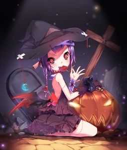 Rating: Safe Score: 1 Tags: 1girl aoi_tsunami bandages black_sclera blood bow braid candy crescent_moon cross demon_wings dress fangs food gloves glowing glowing_eyes hair_bow halloween hat highres jack-o'-lantern lollipop moon original purple_hair red_eyes seiza single_glove sitting solo stitches wings witch_hat User: DMSchmidt