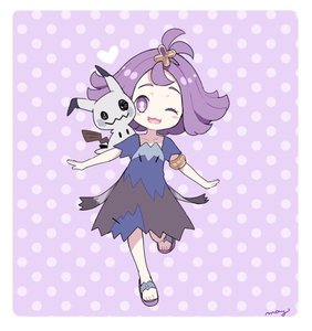 Rating: Safe Score: 3 Tags: 1girl :3 acerola_(pokemon) alternate_colour armlet blush_stickers dress elite_four flipped_hair hair_ornament mei_(maysroom) mimikyu multicolored_clothes multicoloured multicoloured_dress on_shoulder one_eye_closed open_mouth pokemon pokemon_(creature) pokemon_(game) pokemon_sm purple_eyes purple_hair sandals shiny_pokemon stitches trial_captain User: Domestic_Importer