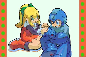 Rating: Safe Score: 1 Tags: 1boy 1girl artist_request blonde_hair boots capcom green_eyes hair_ribbon knee_boots long_hair ponytail red_skirt ribbon rockman rockman_(character) rockman_(classic) roll skirt User: DMSchmidt