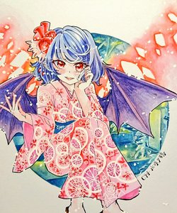 Rating: Safe Score: 0 Tags: 1girl bat_wings blue_hair blush chaka3464 comiket_94 feet_out_of_frame flower geta hair_flower hair_ornament hand_in_hair hand_on_own_cheek japanese_clothes kimono open_mouth plant pointy_ears red_eyes remilia_scarlet ribbon shikishi sitting smile touhou_project traditional_media wings User: DMSchmidt