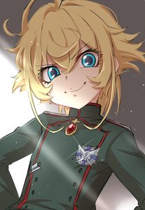 Rating: Safe Score: 1 Tags: 10s 1girl >:) ahoge badge blonde_hair blue_eyes buttons closed_mouth copyright_request eyebrows_visible_through_hair gem green_jacket grin head_tilt highres insignia jacket long_sleeves looking_at_viewer military military_jacket military_uniform ponytail sekina shaded_face short_hair smile smug solo tanya_degurechaff turtleneck uniform upper_body youjo_senki User: DMSchmidt