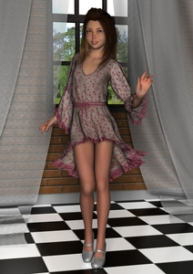 Rating: Safe Score: 2 Tags: 1girl 3d_custom_girl 3dcg artist_name blue_eyes brick_wall brown_hair curtains dress floral_print grass high_heels long_hair looking_at_viewer photorealistic puffy_sleeves sky small_breasts smile solo tile_floor timnaas tree window User: Software