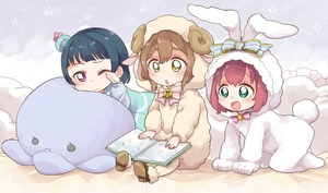 Rating: Safe Score: 0 Tags: 3girls :d :o all_fours animal_costume animal_hood aqua_eyes bangs blue_hair book bow bowtie brown_hair bun_cover bunny_costume bunny_hood bunny_tail cosplay frilled_pillow frills hair_bow hood hood_up izumi_kirifu kigurumi kunikida_hanamaru kurosawa_ruby long_sleeves love_live!_school_idol_project love_live!_sunshine!! multiple_girls neck_bell one_eye_closed open_book open_mouth pillow pink_neckwear purple_eyes reading red_hair rubbing_eyes sheep_costume sheep_hood short_hair sitting smile striped striped_bow striped_neckwear stuffed_animal stuffed_octopus stuffed_toy tail tsushima_yoshiko yellow_eyes younger User: Domestic_Importer