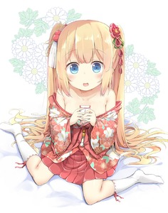 Rating: Questionable Score: 1 Tags: 1girl :d areola_slip areolae armpit_crease bangs bare_shoulders blonde_hair blue_eyes blush breasts collarbone eyebrows_visible_through_hair floral_background floral_print flower full_body green_ribbon hair_bobbles hair_flower hair_ornament hair_ribbon hair_spread_out hakama_skirt highres japanese_clothes kanzashi kimono kneehighs long_hair looking_at_viewer no_shoes obi off_shoulder open_mouth original pink_kimono pirason pleated_skirt print_kimono red_flower red_skirt ribbon ribbon-trimmed_legwear ribbon_trim sanpaku sash short_kimono sidelocks sitting skirt small_breasts smile solo tareme tassel twin_tails very_long_hair wariza white_background white_legwear User: DMSchmidt