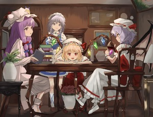 Rating: Safe Score: 0 Tags: 4girls ankle_boots apron arms_on_table bat_wings behind_another blonde_hair blue_dress blue_eyes book book_stack boots bow braid brown_footwear chair chin_rest crescent crescent_hair_ornament crossed_legs crystal cup double_bun dress drink drinking_glass flandre_scarlet flower flowers grey_eyes grey_hair group hair_ornament hair_ribbon hands_together hat hat_ribbon head_tilt headdress holding holding_tray indoors izayoi_sakuya kneehighs lamp lavender_hair long_hair looking_at_another looking_at_viewer maachi_(fsam4547) maid maid_headdress mob_cap multiple_girls open_book open_mouth painting_(object) patchouli_knowledge picture_frame profile puffy_short_sleeves puffy_sleeves purple_eyes purple_hair red_bow red_eyes red_flower red_footwear red_rose red_skirt remilia_scarlet ribbon robe rose short_hair short_sleeves sidelocks silver_hair sitting skirt smile socks standing table teapot touhou_project tray tress_ribbon twin_braids twin_tails vampire vase very_long_hair waist_apron white_dress white_footwear white_legwear wine_glass wings wrist_cuffs wristwear User: DMSchmidt