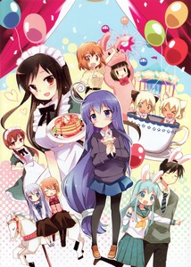 Rating: Safe Score: 0 Tags: 10s 1boy 6+girls :d >_< ^_^ a_channel absurdres acchi_kocchi amusement_park animal_costume apron balloon blush bunny bunny_costume carousel character_request closed_eyes company_connection confetti cup employee_uniform ferris_wheel gochuumon_wa_usagi_desu_ka? hair_ornament hara_yui headdress highres hitsugi_katsugi_no_kuro hitsugi_katsugi_no_kuro. hoto_cocoa inokuma_youko kafuu_chino kin-iro_mosaic loafers maid maid_apron maid_headdress manga_time_kirara mary_janes miniwa_tsumiki mokomoko_box multiple_girls nijuku nishi_yuuko nishino_yukio oomiya_shinobu open_mouth pantyhose plate purple_hair rabbit_house_uniform sanju school_uniform serafuku shoes side-by-side smile solid_oval_eyes spinning_teacup teacup tennouji_nagisa ujimatsu_chiya uniform waitress x_hair_ornament User: DMSchmidt