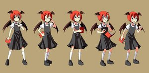 Rating: Safe Score: 0 Tags: 1girl :o adrian_ferrer bat_wings black_dress book clenched_hand dress dropping expressions frown full_body glasses head_wings koakuma puffy_short_sleeves puffy_sleeves red_eyes red_hair short_hair short_sleeves smile solo surprised touhou_project wings User: DMSchmidt