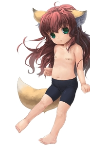 Rating: Questionable Score: 0 Tags: 1girl :< aimme_renard animal_ears bandaid barefoot brown_hair feet flat_chest fox_ears green_eyes highres long_hair navel nipples ohiensis original pasties see-through shorts solo spats tail topless User: DMSchmidt