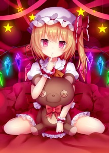Rating: Safe Score: 3 Tags: 1girl amashiro_natsuki blonde_hair button_eyes finger_to_mouth flandre_scarlet frilled_skirt frills hat head_tilt highres looking_at_viewer mob_cap on_bed pillow puffy_short_sleeves puffy_sleeves red_eyes short_hair short_sleeves side_ponytail sitting skirt skirt_set solo star stuffed_animal stuffed_toy teddy_bear touhou_project wariza wings wrist_cuffs User: DMSchmidt