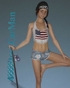 Rating: Questionable Score: 9 Tags: 1girl 3dcg 4888stockcarman barefoot braces braid breasts brown_hair english flat_chest freckles hat jenny_(4888stockcarman) looking_at_viewer navel photorealistic pose shadow shorts skateboard small_breasts smile standing teenage User: fantasy-lover
