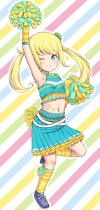Rating: Safe Score: 1 Tags: 1girl armpits bare_shoulders blonde_hair blue_eyes blush breasts cheerleader crop_top eyebrows_visible_through_hair full_body kiratto_pri_chan long_hair looking_at_viewer midriff moegi_emo navel zyarame User: Domestic_Importer