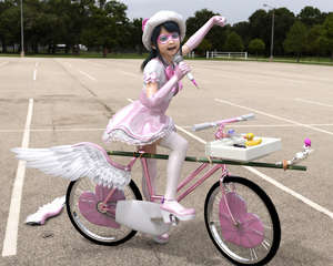 Rating: Safe Score: 6 Tags: 1girl 3dcg bicycle black_hair dress flat_chest glasses gloves hat high_heels looking_at_viewer open_mouth outdoors photorealistic playful pose rodeoschott shadow smile thighhighs toy User: fantasy-lover