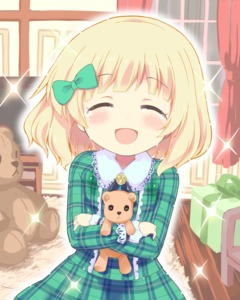 Rating: Safe Score: 0 Tags: 1girl :d ^_^ blonde_hair blush bow box chair closed_eyes crying curtains eyebrows_visible_through_hair gift gift_box gochuumon_wa_usagi_desu_ka? green_eyes green_shirt green_skirt hair_bow himarisu_(hida_mari) indoors kirima_sharo long_sleeves object_hug open_mouth plaid plaid_shirt plaid_skirt rug shirt skirt smile solo sparkle stuffed_animal stuffed_toy teddy_bear television window wooden_floor younger User: Domestic_Importer