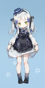 Rating: Safe Score: 0 Tags: 1girl alternate_costume alternate_hairstyle bangs black_ribbon blue_background blue_hat blue_headwear blush bow bowtie checkered checkered_neckwear closed_mouth dress dress_lift eyebrows_visible_through_hair facial_mark girls_frontline green_eyes hair_ornament hair_ribbon hairband hat head_tilt highres hk416_(girls_frontline) light_particles loafers long_hair looking_at_viewer ribbed_legwear ribbon shoes shuzi sidelocks silver_hair socks solo teardrop twin_tails User: DMSchmidt