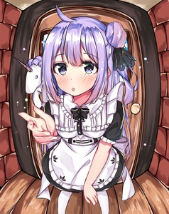 Rating: Safe Score: 0 Tags: 1girl :o absurdres ahoge alternate_costume apron azur_lane bangs black_dress black_ribbon blush bow dress enmaided eyebrows_visible_through_hair fingernails fisheye frilled_apron frills hair_between_eyes hair_bun hair_ribbon highres maid maid_apron norazura on_shoulder one_side_up pantyhose parted_lips puffy_short_sleeves puffy_sleeves purple_eyes purple_hair ribbon shigurene short_sleeves side_bun solo stuffed_animal stuffed_toy stuffed_unicorn unicorn_(azur_lane) white_apron white_bow white_legwear wooden_floor User: DMSchmidt