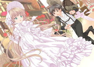 Rating: Safe Score: 0 Tags: 1boy 1girl :d amano_sakuya bag black_hair black_pants blonde_hair bonnet bow bowtie brown_eyes brown_hair building carrying dress dutch_angle food frilled_dress frilled_sleeves frills gosick green_eyes hat hat_removed headwear_removed highres hime_cut holding house ice_cream jacket kujou_kazuya lolita_fashion long_hair long_sleeves official_art open_mouth pants parasol running short_hair sleeves_past_wrists smile suspenders sweet_lolita umbrella very_long_hair victorica_de_blois white_dress User: Domestic_Importer