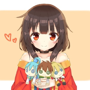 Rating: Safe Score: 4 Tags: 1girl :> aqua_(konosuba) bare_shoulders blush brown_hair button_eyes character_doll choker collarbone darkness_(konosuba) doll_hug eyebrows_visible_through_hair heart holding kono_subarashii_sekai_ni_shukufuku_wo! looking_at_viewer megumin miyu19996513 red_eyes satou_kazuma short_hair simple_background smile solo upper_body User: DMSchmidt