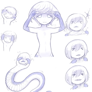 Rating: Safe Score: 2 Tags: 1girl >_< blue closed_mouth crying flat_chest idon lamia looking_at_viewer monochrome monster_girl multiple_views nude original shedding simple_background smile tareme tears wavy_mouth white_background User: DMSchmidt