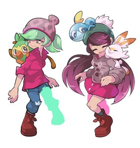 Rating: Safe Score: 0 Tags: 2girls aori_(splatoon) backpack bag beanie cardigan closed_eyes cosplay creatures_(company) earrings female_protagonist_(pokemon_swsh) female_protagonist_(pokemon_swsh)_(cosplay) game_freak gen_8_pokemon green_hair green_hat grookey hat hotaru_(splatoon) humanization jewellery long_hair long_sleeves male_protagonist_(pokemon_swsh) male_protagonist_(pokemon_swsh)_(cosplay) multiple_girls nintendo open_mouth pokemon pokemon_(creature) pokemon_(game) pokemon_swsh purple_hair red_shirt scorbunny shirt short_hair simple_background smile sobble splatoon_(series) tam_o'_shanter wong_ying_chee yellow_eyes User: Domestic_Importer