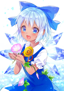 Rating: Safe Score: 0 Tags: 1girl bangs blue_dress blue_eyes blue_hair blush bow cirno coloured_eyelashes cowboy_shot dress fang flower hair_bow hidden_star_in_four_seasons highres holding holding_flower ice ice_wings neme plant reflective_eyes ribbon shirt short_hair sleeveless sleeveless_dress solo star tan touhou_project vines white_background white_shirt wings User: DMSchmidt