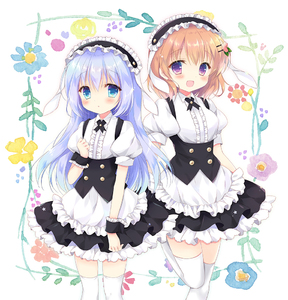 Rating: Safe Score: 2 Tags: 2girls :d :o animal_ears apron bangs black_hairband black_skirt blue_eyes blue_flower blue_hair blush breasts brown_hair bunny_ears center_frills collared_shirt eyebrows_visible_through_hair fake_animal_ears fleur_de_lapin_uniform floppy_ears flower frilled_apron frilled_hairband frills gochuumon_wa_usagi_desu_ka? hair_between_eyes hair_ornament hairband hairclip hand_up hasekura_chiaki hoto_cocoa kafuu_chino long_hair looking_at_viewer multiple_girls open_mouth parted_lips puffy_short_sleeves puffy_sleeves purple_flower shirt short_sleeves skirt small_breasts smile standing standing_on_one_leg thighhighs underbust uniform very_long_hair waist_apron waitress white_apron white_background white_legwear white_shirt wrist_cuffs yellow_flower User: DMSchmidt