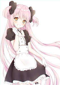Rating: Safe Score: 4 Tags: 1girl absurdres alternate_costume dress dress_lift garter_straps gloves highres kaname_madoka long_hair mahou_shoujo_madoka_magica maid mochiko_(uyu_omochi) pink_hair simple_background smile twin_tails ultimate_madoka very_long_hair white_gloves white_legwear yellow_eyes User: DMSchmidt